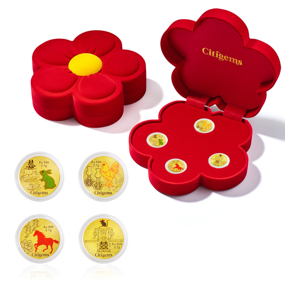 999 Pure Gold Blissful Wedding Gold Coins Set