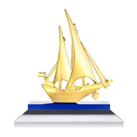 999 Pure Gold Plated Smooth Sailing Figurine