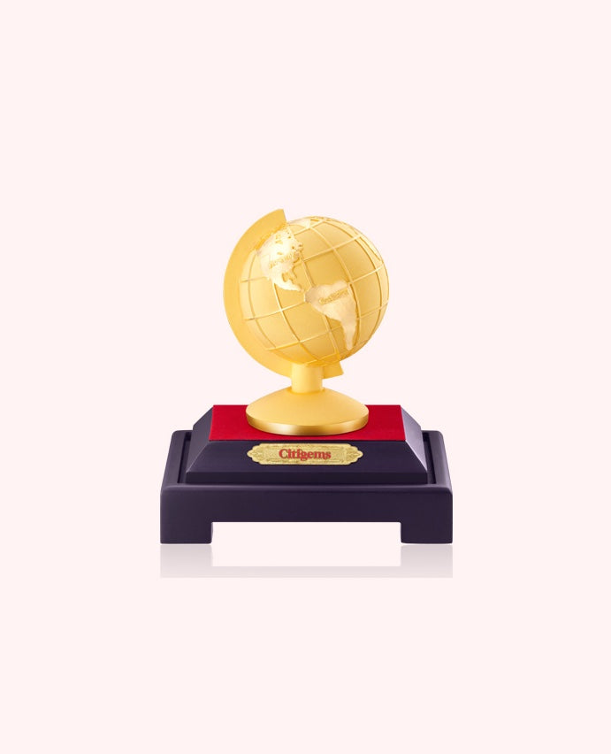 999 Pure Gold Plated Fortune Around The World Globe Figurine
