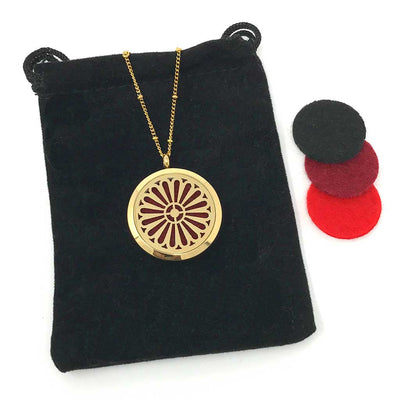 Happiness Diffuser Necklace with velvet polishing puch
