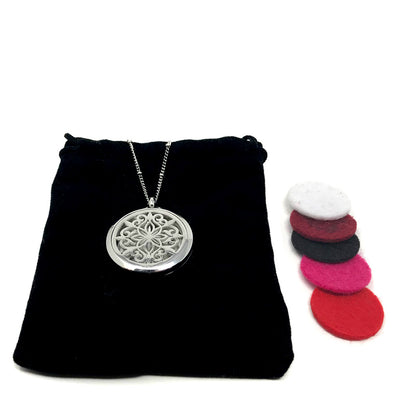 Chakra Blossom Diffuser Pendant with velvet polishing pouch