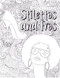 Color Your Calm: Stilettos and Fro's Therapy Coloring Book Page
