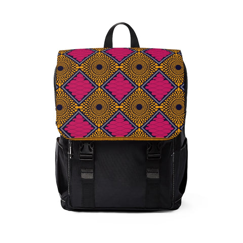 Pink and Gold Ankara Print Style Unisex Casual Shoulder Backpack