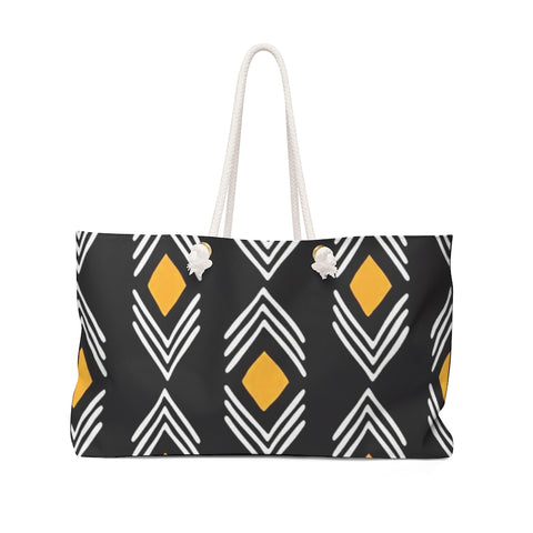 Black and Yellow Diamond Shape Bogolan Style Weekender Bag