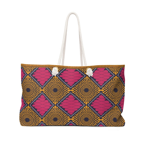 Pink and Gold Ankara Print Style Weekender Bag