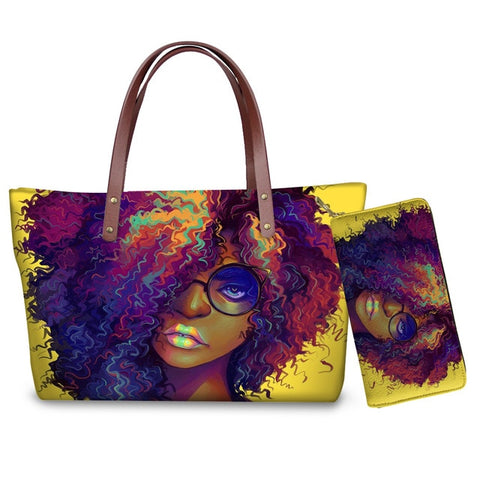 Hand Bag & Purse Set - Woman in Eyeglasses (Style D)