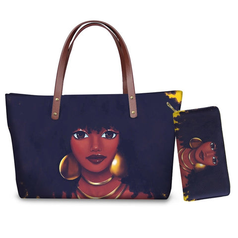 Hand Bag & Purse Set - Woman With Jewelries