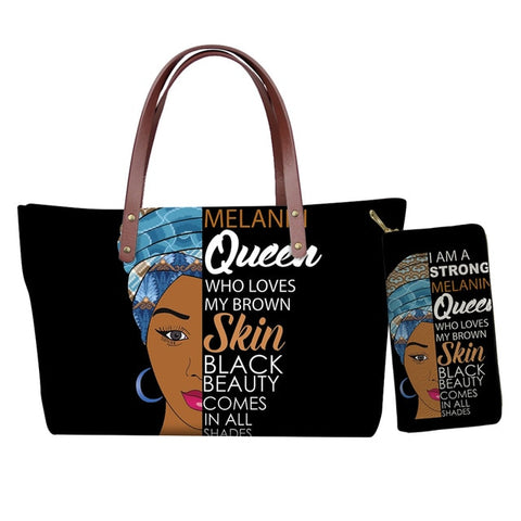 Hand Bag & Purse Set - Queen Who Loves My Brown Skin