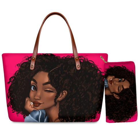Hand Bag & Purse Set - Winking Woman