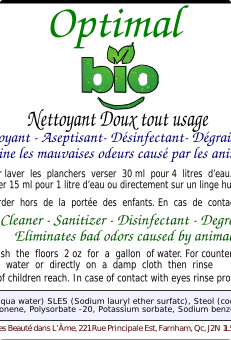 Optimal Bio, Nettoyant tout Usage, zéro déchet / Optimal Bio, All Purpose Cleaner, zero waste