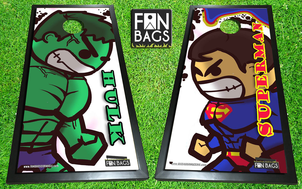 Superman vs. The Hulk Cornhole Set - FanBags Cornhole