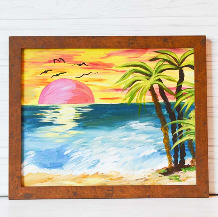 "Monday, April 6, 2020: VIRTUAL ""Sunset on the Beach"" Canvas Painting Class"