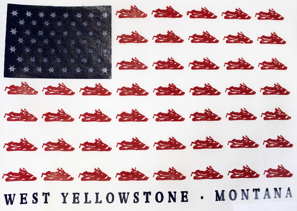 Snowmobile American Flag Print