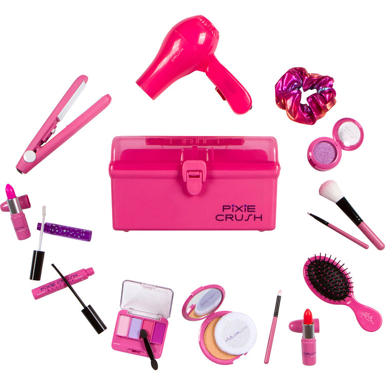 Deluxe Pretend Makeup Set with Carrying Case, Hair Dryer, and Straightener