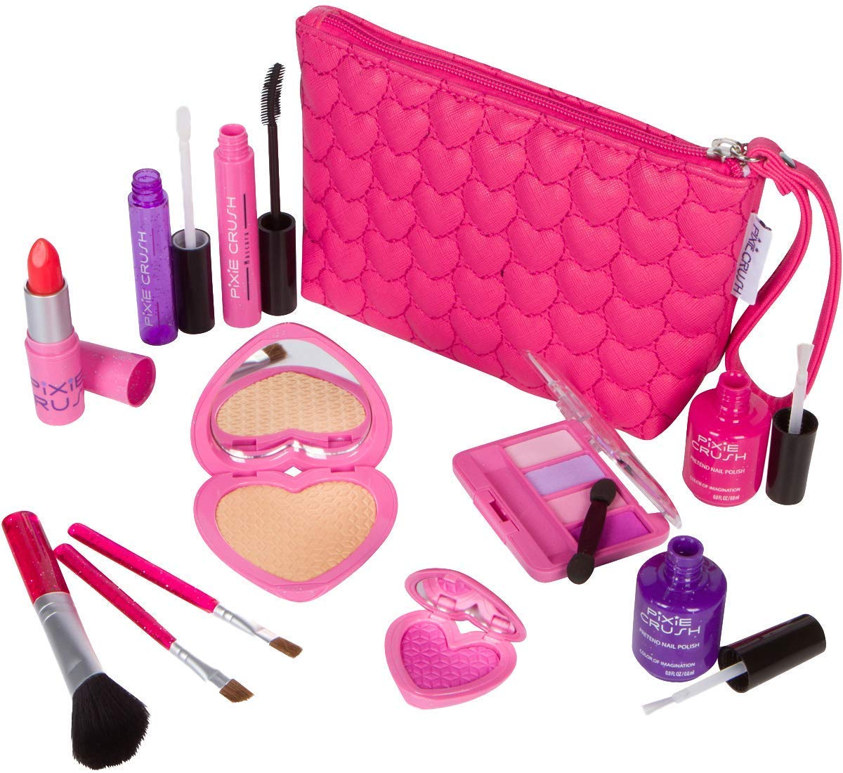 Love Series Designer Girls Pretend Play Makeup Kit with Pink Heart Pouch