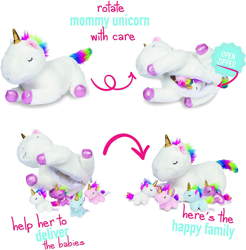 Mommy Unicorn Stuffy With 4 Baby Unicorns In Her Tummy