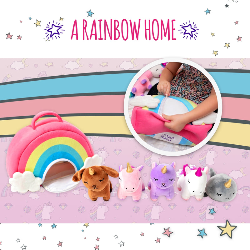 Unicorn Toys Stuffed Animal Gift Plush Set with Rainbow Case – Two Unicorns, Kitty, Puppy, and Narwhal