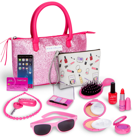 Pixie Crush Deluxe Pink Sparkle Pretend Play Kid Purse Set for Girls with Handbag, Pretend Smart Phone, Keys with Remote, Pretend Makeup, Lipstick – Interactive & Educational Toy
