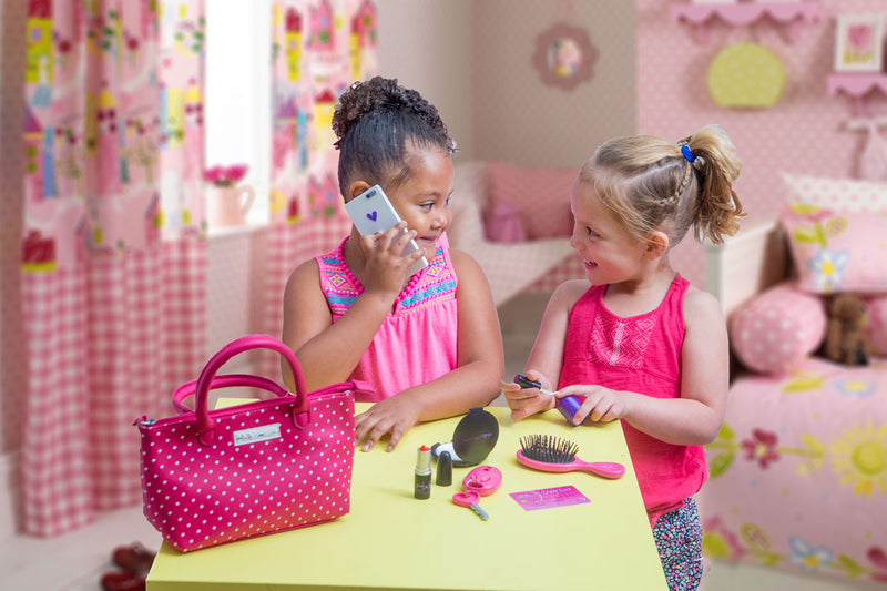 Pink Polka Dot Pretend Play Purse with Pretend Makeup