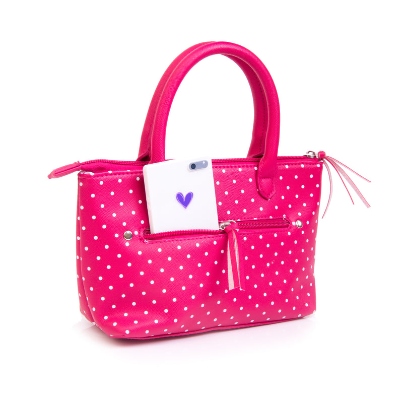Pink Polka Dot Play Purse with Girls Pretend Makeup
