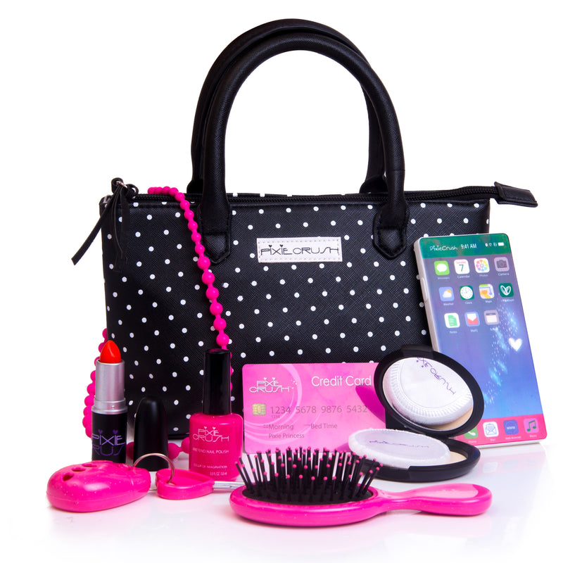 Black Polka Dot Girls Pretend Play Purse with Pretend Makeup