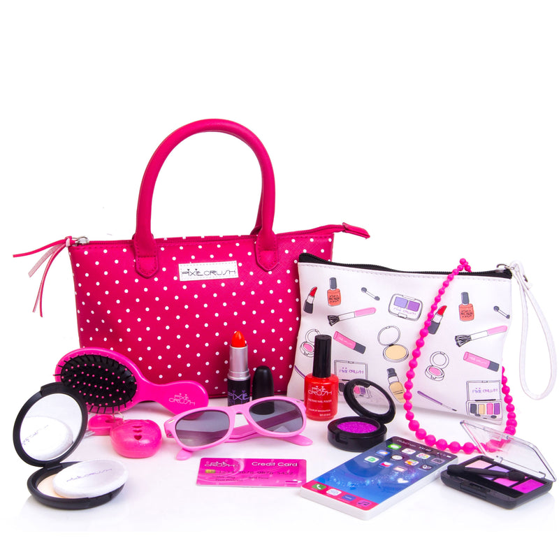 Deluxe Pink Polka Dot Pretend Play Purse Set