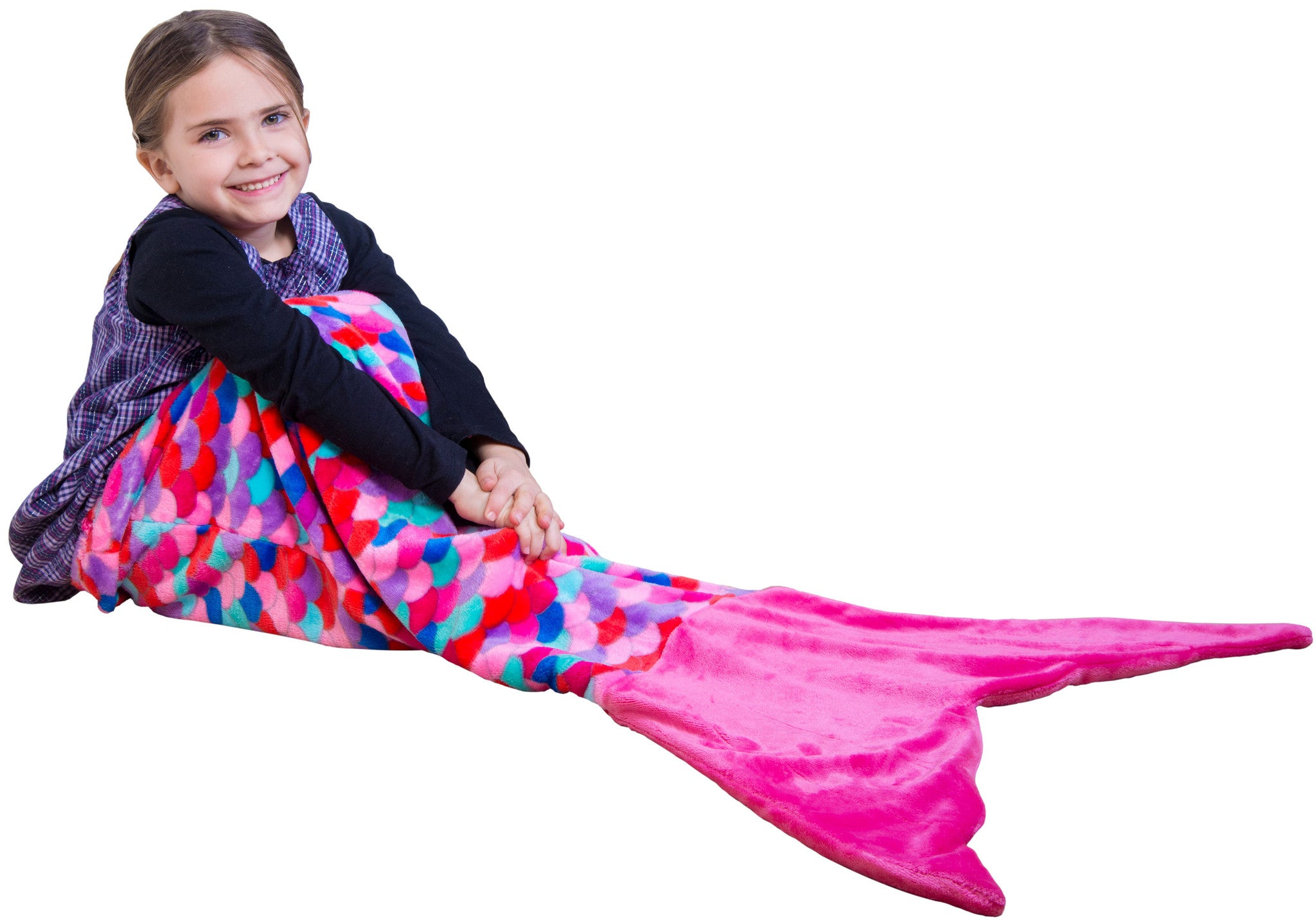 Pink Coral Mermaid Tail Blanket for Kids