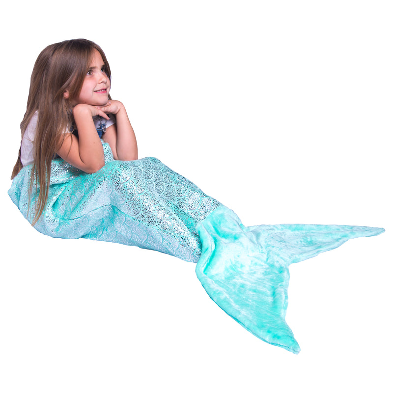 Shimmery Teal Mermaid Tail Blankets for Kids