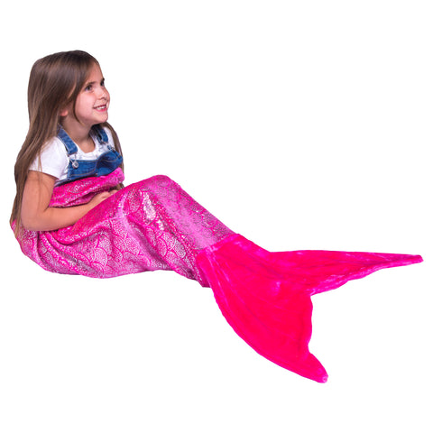 Shimmery Pink Mermaid Tail Blankets for Kids