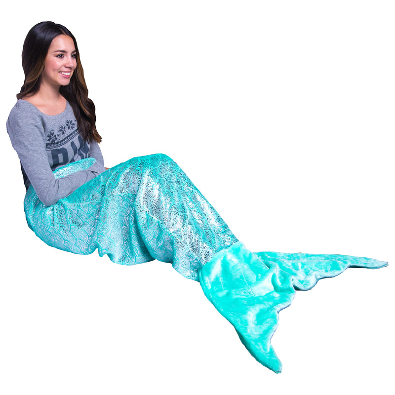 Mermaid Tail Blanket Large Shiny Teal (Mom/Adult/Teen)