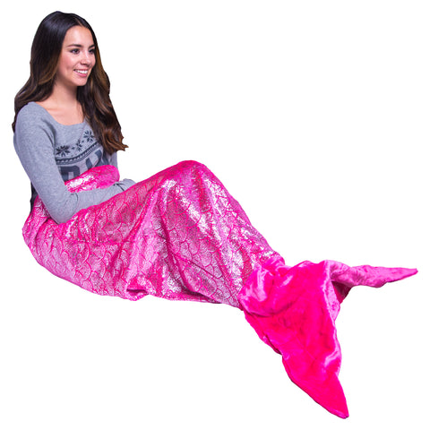Shimmery Pink Mermaid Tail Blankets for Teens and Adults
