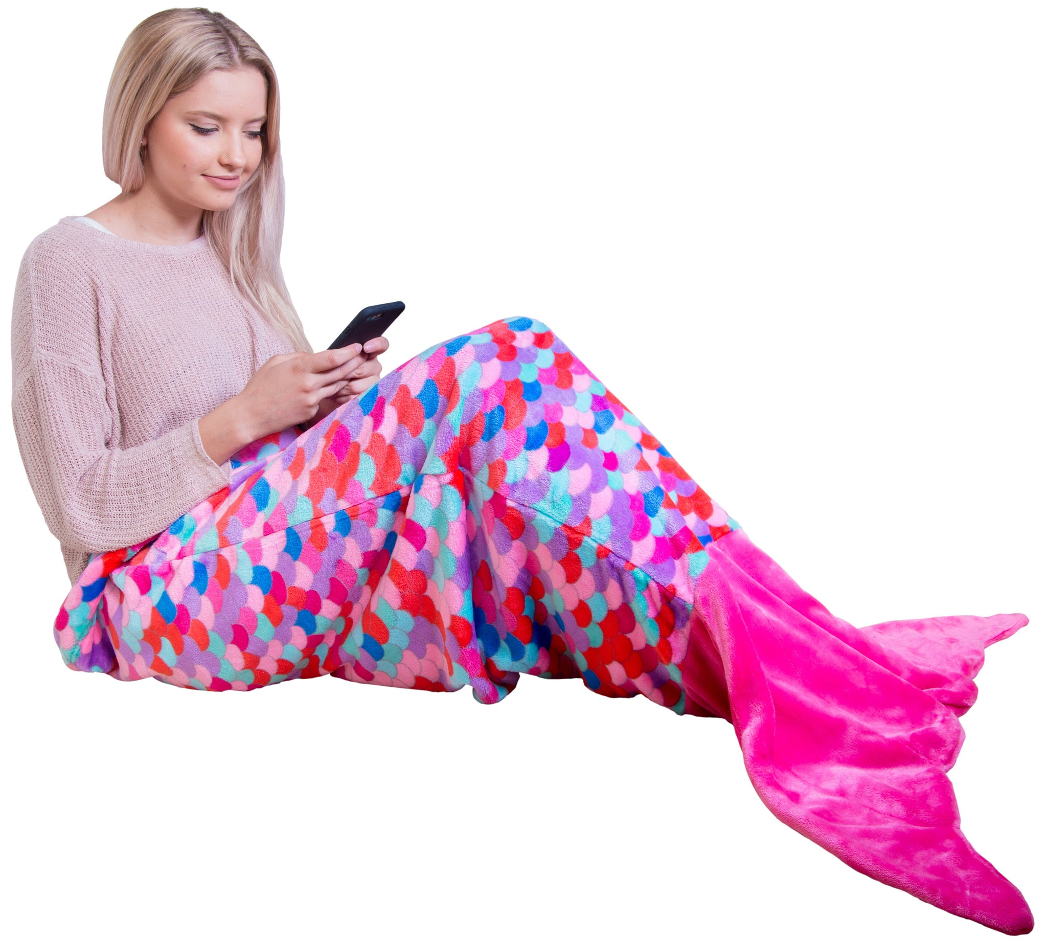 Pink Coral Mermaid Tail Blankets for Teens and Adults