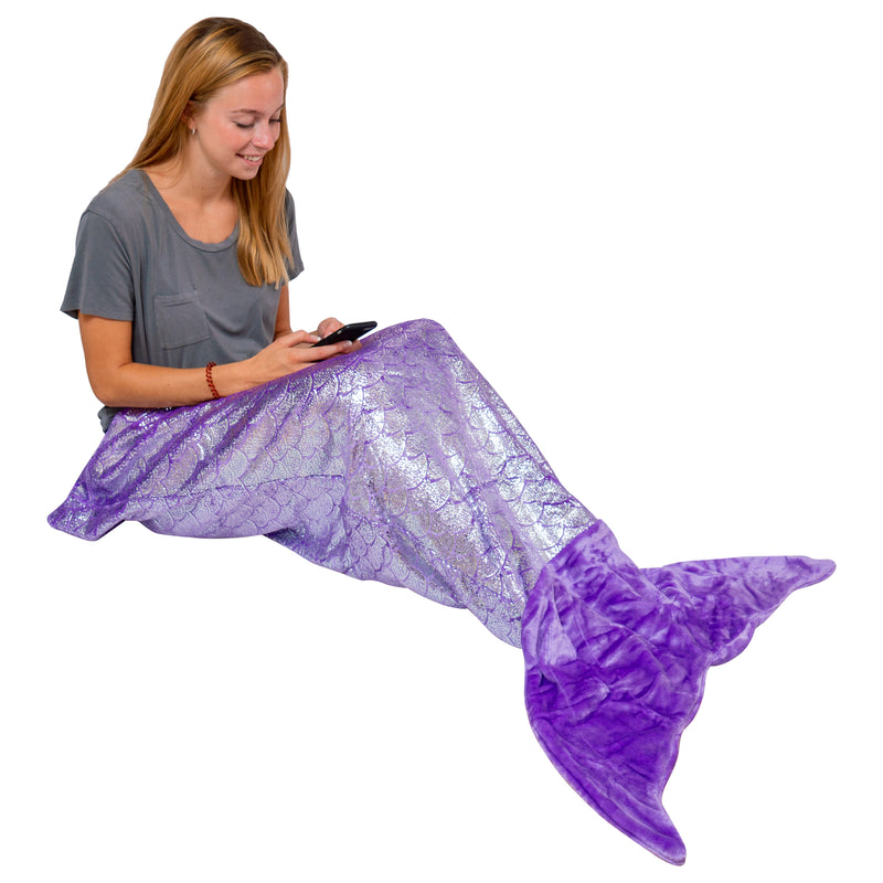 Mermaid Tail Blanket Large Shiny Purple  (Mom/Adult/Teen)