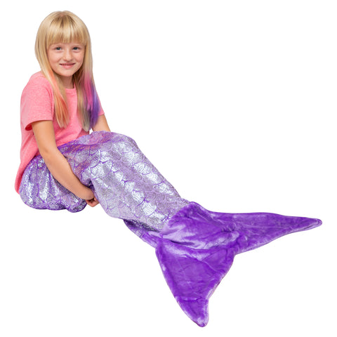 Shimmery Purple Mermaid Tail Blankets for Kids