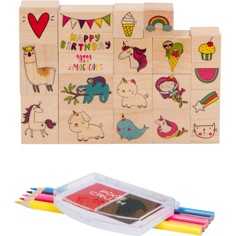 Deluxe Wooden Stamp Set with Unicorns, Sloths, Llamas, Puppy's, Kitty Cats and much more!