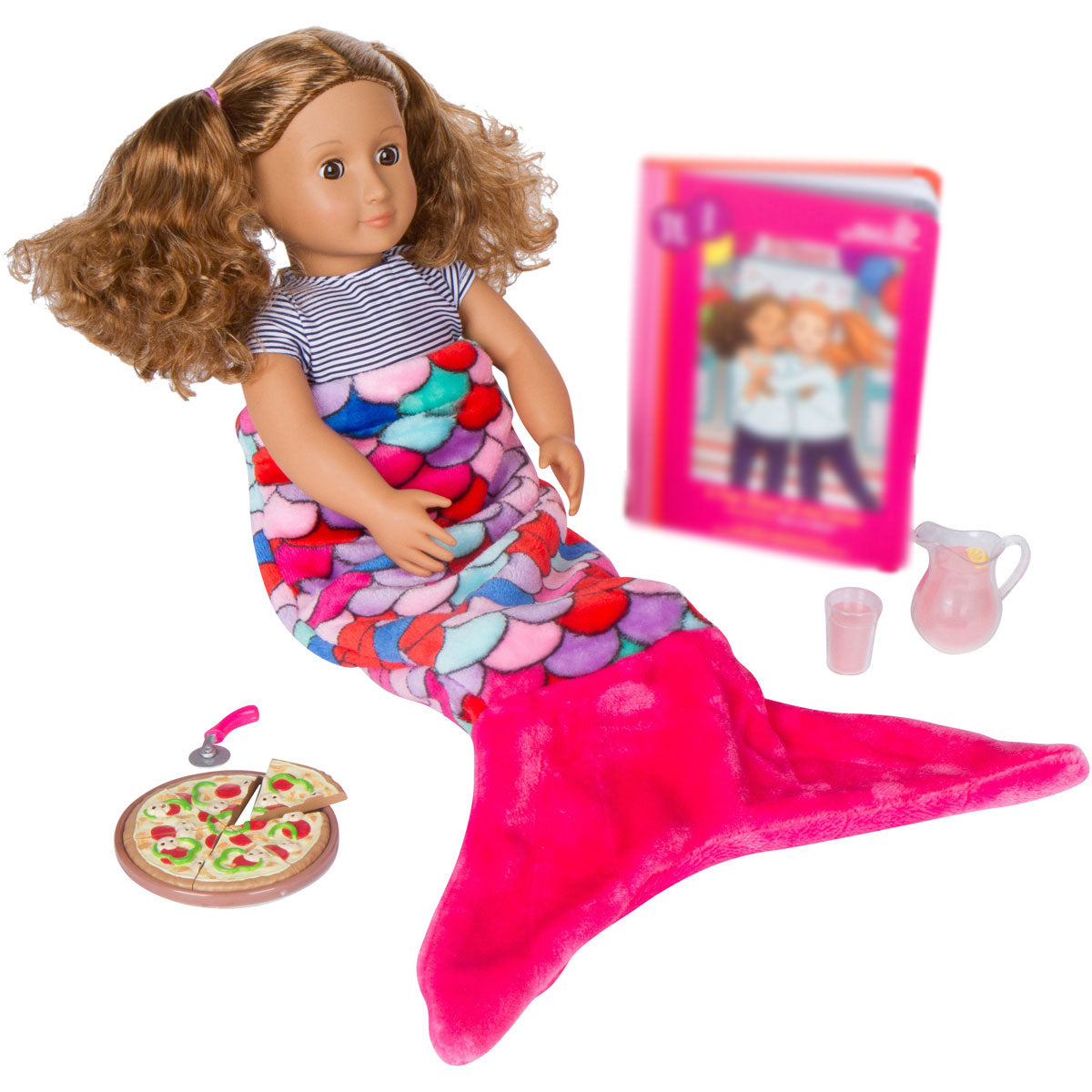 Pink Coral Mermaid Tail Blanket for 18-inch Dolls