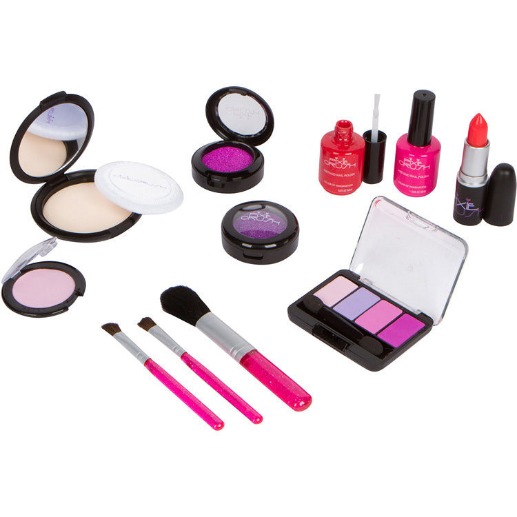 Pretend Play Cosmetic and Makeup Set. 13 Piece Designer Kit with Pink Polka Dot Handbag