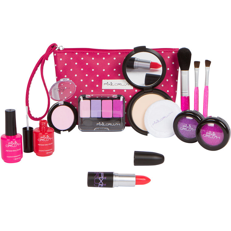 "Pretend Makeup ""Me"" Set with Pink Polka Dot PU Leather Bag"