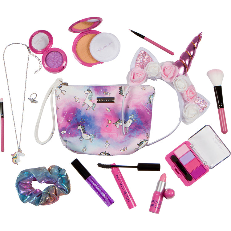 Unicorn Pretend Makeup Set with Necklace, Ring, and Scrunchie.