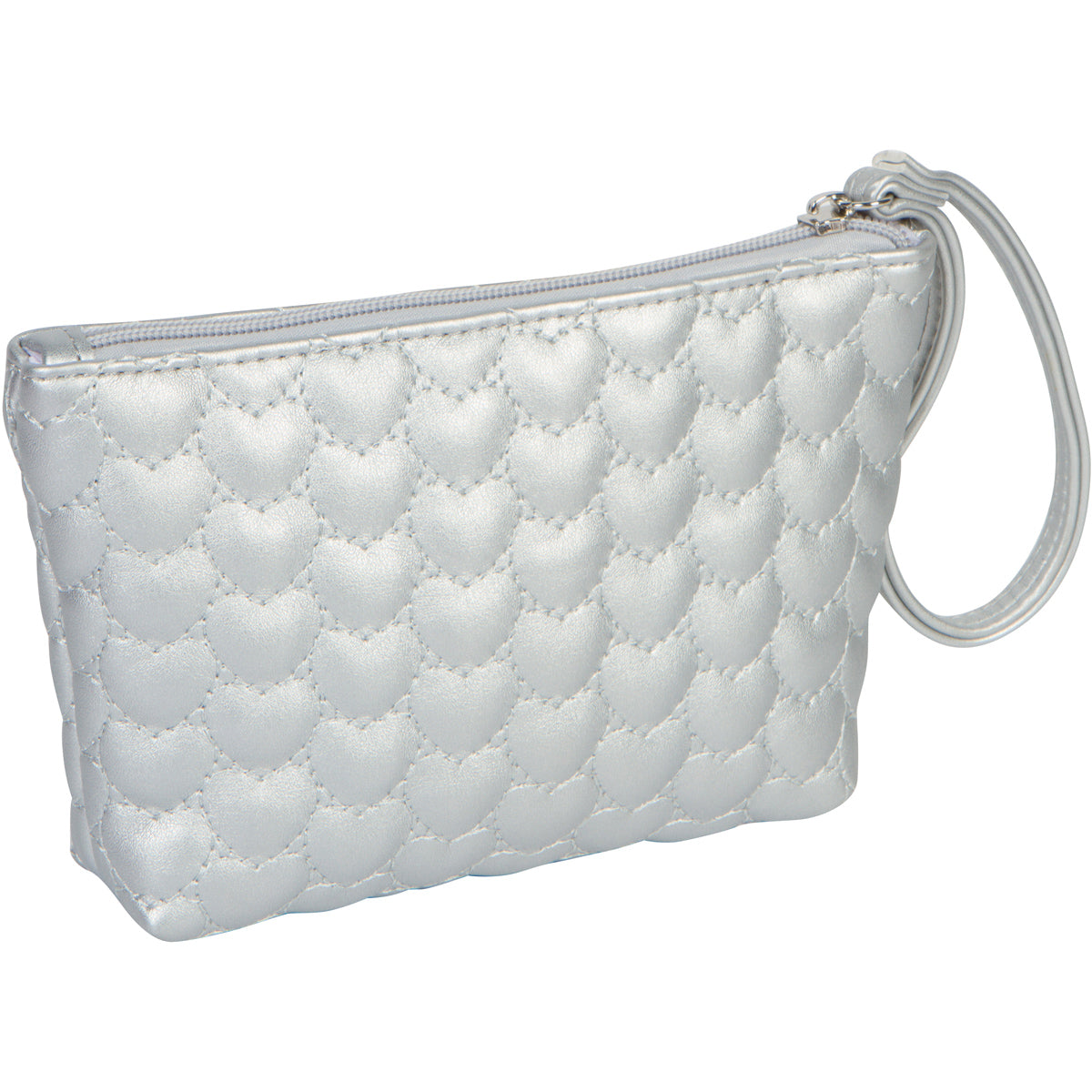 Silver Love Series Heart Makeup Bag