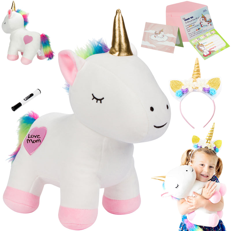 "13"" Soft Unicorn Stuffed Animal with Writable Heart"