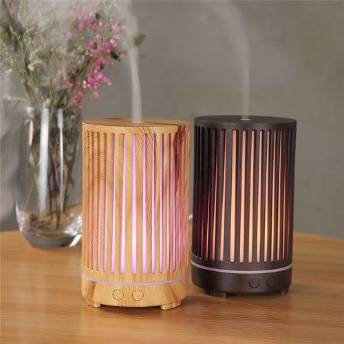 Wood Cage Cylindrical Aromatherapy Essential Oil Diffuser - 200ML