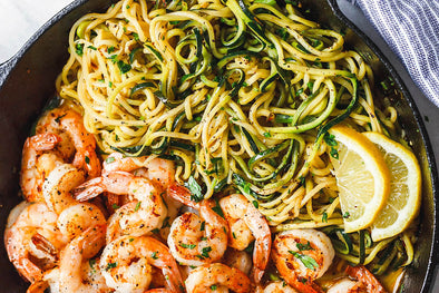 10-Minute Lemon Garlic Butter Shrimp with Zucchini Noodles