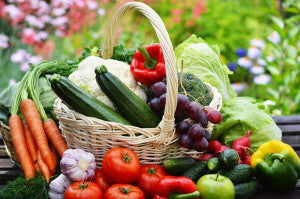 Colorful organic fruits and vegetables help  eliminate the toxins in your food.