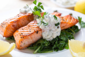 Cold water fish such as salmon and mackerel are good sources of Omega-3s.