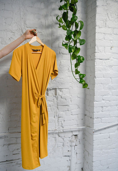 The Wrap Dress in Gold