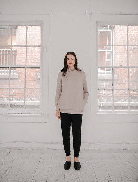 The Funnel Neck Pullover in Fawn