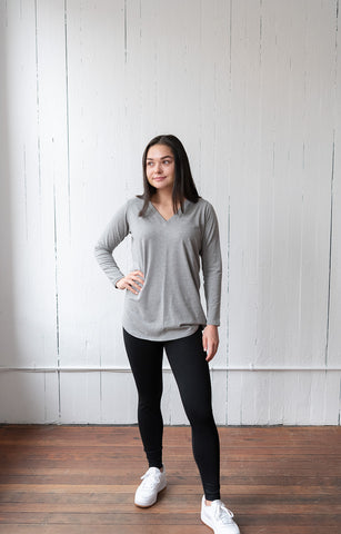 The Long Sleeve Perfect T in Grey Melange