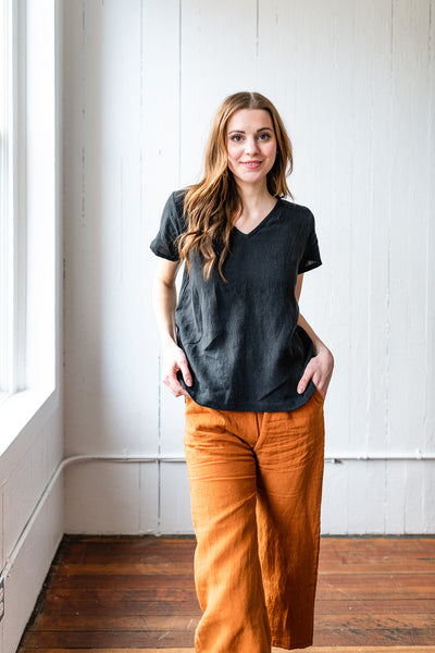 The Linen Boxy Top in Black