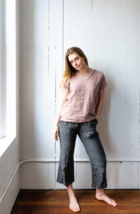 The Linen Boxy Top in Blush